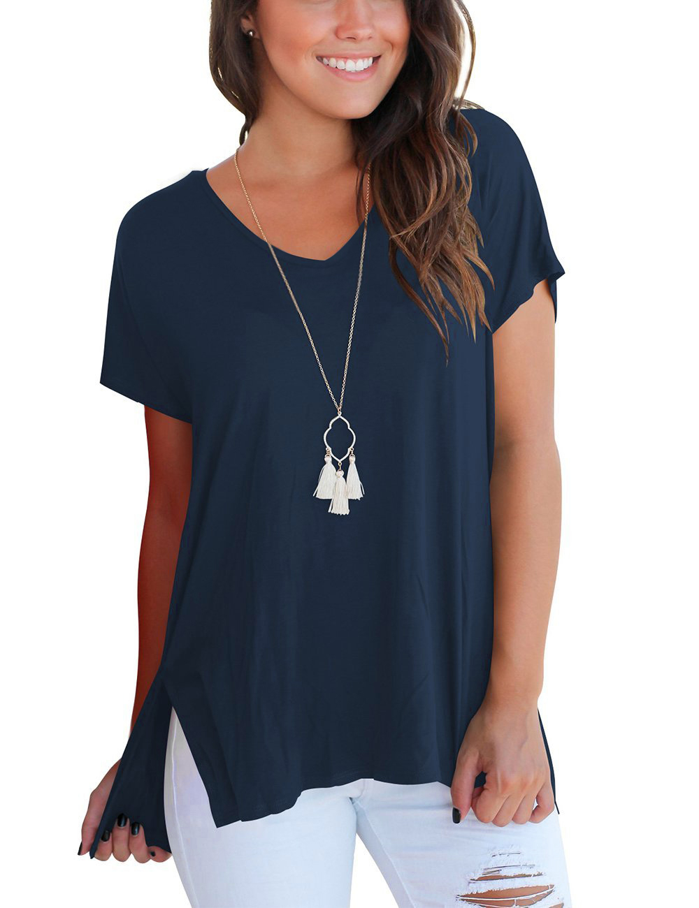 5b08a5ae42551 Women s Short Sleeve High Low Loose T Shirt Basic Tee Tops with Side Split  – BLUE