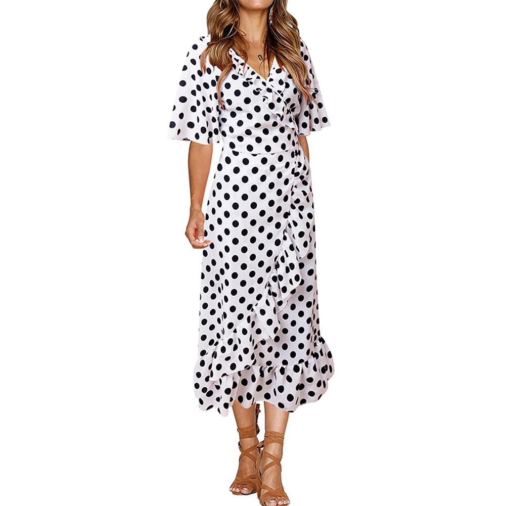 White Polka Dot V Collar Ruffle Trim Midi Dress